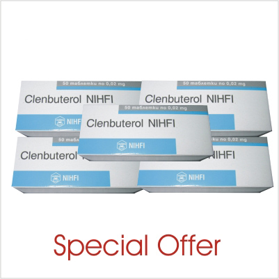 Clenbuterol 4 boxes (200 tabs/20mcg)+1 box FOR FREE